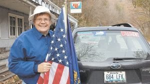 Retired Letcher County school teacher Jon Henrikson of Carcassonne was photographed after voting Tuesday. Henrikson was a supporter of Kentucky's current Secretary of State, Alison Lundergan Grimes, who attempted unsuccessfully to defeat incumbent U.S. Senator Mitch McConnell.