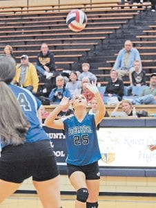 Letcher Central's Sara Baker (25) took aim against Hazard in the finals of the 14th Region Volleyball Tournament at Knott County Central. (Photo by Chris Anderson)