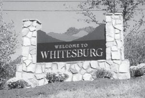 "WELCOME — ""Our Whitesburg sign, we are proud of it,"" says Whitesburg correspondent Oma Hatton. ""Some of our misplaced friends have never seen it. If you have been gone a long time, we have a lot of beautiful buildings and a lot of different businesses. It's had a lot of changes. You all come!"""