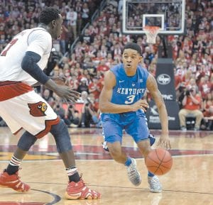 Kentucky's Tyler Ulis brought the ball up the court against Louisville. (AP Photo)