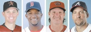 NEW BASEBALL HALL OF FAMERS — From left are Craig Biggio in 2007, Pedro Martinez in 2008, Randy Johnson in 2003 and John Smoltz in 2008. The four were elected to baseball's Hall of Fame on Tuesday, the first time since 1955 writers selected four players in one year. (AP Photo)