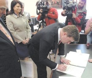 Democratic Attorney General Jack Conway signed the papers for his name to appear on the ballot last week in Frankfort for the May 19th Democratic primary for governor in Kentucky. Conway visited Whitesburg on January 14. (AP Photo/Adam Beam)