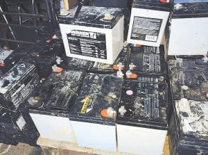 Pictured above are some of the batteries stolen from natural gas wells belonging to EQT. Two men have been charged with the crimes.