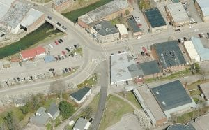 This aerial photo shows the intersection at East Main Street and the foot of School Hill.