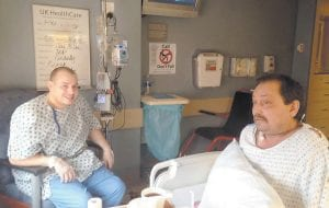 TRANSPLANT PATIENT MEETS DONOR — Andrew Rose, 26, of Wise, Virginia and Clancy Hensley, 47, of Eolia, talked to each other for the first time on January 30. Rose donated a kidney to Hensley on January 29 at the University of Kentucky Medical Center in Lexington.