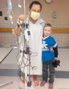 Clancy Hensley posed for this photograph with six-year-old son Dalton on February 2. Hensley, 47, defeated odds of one in 100,000 when a 26-year-old Wise, Virginia man had the exact match needed for a successful kidney transplant. Both men are now back at their homes.