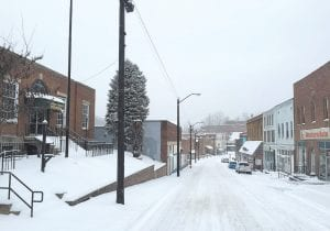 Not a creature or person — except the photographer — was stirring on Main Street in Whitesburg around 4 p.m. on Monday after downtown workers left for home while they could still get there.