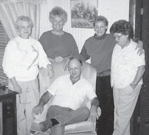Pictured is the Bill and Mary Napier family, formerly of Marlowe. Standing from left to right are Laura Napier Holland; Margaret Hatton Combs; Alicia Napier Staley, Virgil Napier's daughter; and Norma Napier, Burchel Napier's wife, and seated is Ernie Napier, son of Norma and Burchel Napier.