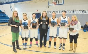 ALL-DISTRICT TEAM NAMED — Members of the Jenkins Lady Cavaliers and the Letcher Central Lady Cougars were named to the All- District team at the girls' district championship game Friday. They include, from left, Jenkins' Whitney Creech, Letcher Central's Sara Baker, Cheyenne Stidham, Kimberly Meade, Courtney Brock and Kristina Bentley and Jenkins' Brittany Sexton. (Photo by Chris Anderson)