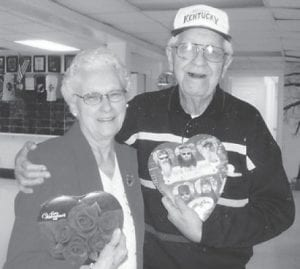 VALENTINE'S PARTY — Pictured are Mable Johnson and Bill Blair at the Fleming-Neon Senior Citizens Center Valentine's Day party.