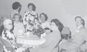Pictured are Pauline W. Frazier, Grace Kingon, Theresa Franklin, Monette Huff Ison, Thelma M. Cornett, Della N. Shepherd, and Mr. and Mrs. Dennis Boggs.