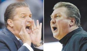Kentucky Coach John Calipari and West Virginia Coach Bob Huggins are close friends off the court. (AP Photo)