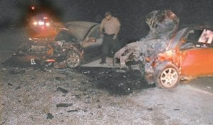 Jack Gibson, who lives near the scene of the wreck, took this photo after helping rescue the occupants of the vehicles after the collision at about 11 p.m. last Saturday.