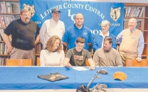 — Dustyn Reinstetle, a senior at Letcher County Central High School, signed a golf scholarship on March 4 with the University of Pikeville. He is the son of Paula and Tommy Tolliver of Whitesburg, and John and Cynthia Reinstetle of Hazard.