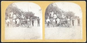 RARE CIVIL WAR IMAGE — This image shows Southern artillery militia members in Charleston, S.C., in a photo made between 1861 and 1865. Rare Civil War-era stereoscopic photographs have been acquired by the library from collector Robin Stanford. The images include a set of very rare photos of pre-Civil War slave life on a South Carolina plantation, images from Fort Sumter just after it was seized by the Confederates in April 1861 as well as one from President Abraham Lincoln's funeral procession in various cities. Stereoscopic photography creates the illusion of three-dimensional depth from two similar two-dimensional photographs taken next to each other. (AP Photo/Library of Congress)