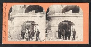 This image provided by The Library of Congress show men standing at Fort Sumter near Charleston, S.C., in April 1861 after the fort was bombarded. (AP Photo)