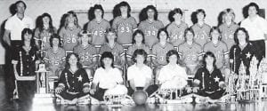 Pictured is the 1983 Whitesburg High School girls' basketball team, (front row, left to right) Ella Cook, Missy Combs, Suzy Reynolds, Pam Hall, Pat Sturgill, (second row) Stephanie Potter, Patricia Baker, Bridgette Combs, Teresa Gibson, Tiphanie Bates, Sandy Brown, Thelma Witt, Damaris Adams, Angie Phipps, (back row) Coach John High, Patsy Stallard, Diana Hatton, Laura Caudill, Pam Nelson, Rhulena Breeding, Sandy Luther, Regina Holbrook and Assistant Coach, Kathy Sergent.