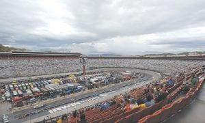 Many fans left Sunday's spring Bristol race because of rains and threatening weather. After delays, fans who remained for the Food City 500 in Support of Steve Byrnes got their money's worth. (AP Photo)