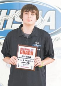 """BEST & BRIGHTEST — Cameron Adams, a freshman member of the Letcher County Central High School archery team, won the Kentucky National Guard's """"Best & Brightest Award"""" during the state meet. (KHSAA photo)"""