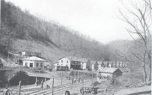 """The coal camp community of Hemphill, offically known as Jackhorn, was still under construction when this photo was taken in 1914. A new study says Hemphill is one of two Letcher County communities and 50 in Central Appalachia that are """"at risk"""" because of mountaintop removal mining. A coal industry spokesman dismissed the claim by North Carolina-based Appalachian Voices as a """"ruse."""""""
