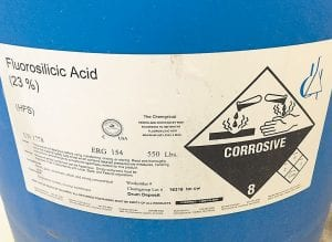 The warning label shown here is affixed to a 50-gallon drum of fluorosilicic acid, which the Whitesburg Waterworks uses to fluoridate the city's drinking water supply. The federal government has recommended cuts in the level of flouride, which has been shown to help prevent cavaties.