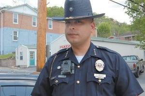 Whitesburg Police Chief Tyrone Fields wore a body camera Tuesday.