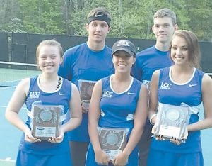 Five Letcher County Central High School tennis players recently participated in regional competition in Knott County and will compete in the state tournament on May 14 at the University of Kentucky in Lexington. Keith Adams is the head tennis coach. Cruz Adams and Dylan Caudill will play in boys' doubles. MyKoria Polly and Rachel Lucas advanced to the finals in girls' doubles, and Brittany Wright advanced in girls' singles. (Photo by Keith Adams)