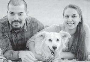 — Rachel Lea Ingram and Phillip Garces will be married July 11. Pictured with the couple is their dog, Butter.