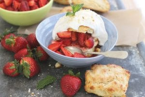This photo shows strawberries with shortcakes perfected in Gourmet magazine's kitchen. (AP Photo)