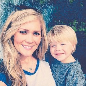USE SUNSCREEN, STAY OUT OF SUN AND TANNING BEDS is the warning from Letcher native Tawny Dzierzek Willoughby, seen with son Kayden above and showing the results of skin cancer treatment at right.