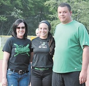 — In photo above left, pitcher Caitlynn Estevez and parents Anthony and Terri Estevez are shown during pre-game ceremonies honoring the graduating members of the Lady Cavaliers softball team. Pictured above right are senior catcher Charity Niece and her mother, Sharon.
