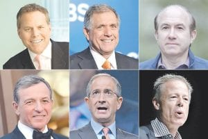 This photo shows six of the ten highest-paid CEOs in 2014, according to a study carried out by executive compensation data firm Equilar and The Associated Press. Top row, from left: David Zaslav, Discovery Communications; Les Moonves, CBS; and Philippe Dauman, Viacom. Bottom row, from left: Robert Iger, Walt Disney; Brian Roberts, Comcast; and Jeffrey Bewkes, Time Warner. (AP Photo)