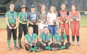 Members of the All-53rd District Girls' Softball team are (back row, from left) Lexi Stambaugh, Melissa Bartley, Cheyanne Stidham, Makayley Johnson, Carley Combs, Lauren Baker, Faith Clutts (front row, from left) Charity Niece, Whitney Creech, and Caitlynn Estevez.