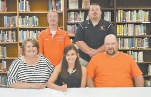 Reanna Nicole Elswick, a senior at Jenkins High School, signed to pole vault at Union College in Barboursville. She is the daughter of Sammy and Shellie Elswick of Jenkins, and is the school record holder at Jenkins for pole vault. She placed sixth in the state in 2014 and fourth in the state in 2015 at the Kentucky State Track Meet. She will continue her track career, competing for Union in its indoor and outdoor meets.