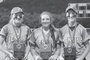 Named to the All-14th Region Tournament team from Jenkins were, from left, Whitney Creech, Caitlynn Estevez and Lexi Stambaugh.