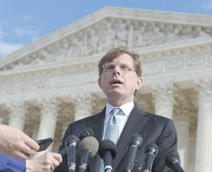 John P. Elwood, attorney for Anthony D. Elonis, was photographed in December 2014 after arguing before the U.S. Supreme Court. (AP Photo)