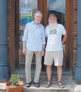 Robb Webb, left, and younger brother, Jim, were together early last week in downtown Whitesburg. Both are natives of Letcher County, where their father, Watson Webb, served as school superintendent in the late 1930's and early 1940's. (Photo by Sally Barto)