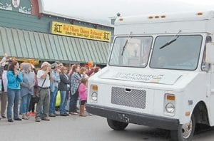 """An old bread truck is made to look like the Wise County bookmobile. Jenna Elfman drove the vehicle in """"Big Stone Gap."""""""