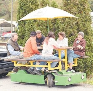 This rolling picnic table was a popular attraction during the Blackey Days festival. (Photo by Mary Adams)