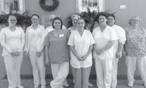 In honor of National Dietary Services Week, the dietary staff at Letcher Manor was given a dinner and a gift of appreciation. Pictured are (left to right) are Cheyenne Collins, Tamara Mckinnley, Melissa Fox, Robin King, Sandy Lewis, Dinah Fields, Brittany Blair and Elizabeth Sturgill.
