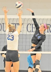 Letcher County Central High School's Micayla Brashears fired the ball across the net in Monday's regional tournament-opening win over Breathitt County at LCC. The Lady Cougars face Hazard in the semi-final round at LCC on Thursday. (Photos by Chris Anderson)
