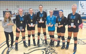 Members of the All-Tourney Team for the 14th Region Volleyball Tournament include Jenkins' Breaunna Rose (left) and champion Letcher Central's Micayla Brashears, the tourney MVP, and teammates Sydney Caudill, Emma Maggard, Brooke Madden, Shelby Kincaid and Alli Shepherd. (Photo by Chris Anderson)