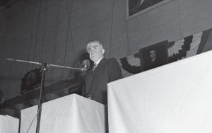Among President Harry Truman's toughest critics leading up to the November 1948 election was United Mine Workers of America President John L. Lewis. At right, Lewis addressed the opening session of the UMW convention in a speech in which he assailed Truman in Cincinnati on October 5, 1948. (AP Photo/Harvey Eugene Smith)