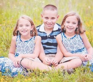 — Bryce Anthony Powers celebrated his 11th birthday on Nov. 9. His sisters Adriana Grace Powers (left) and Sage Elizabeth Powers (right) celebrated their seventh birthday on Nov. 5. They are the children of David and Summer Powers of Jenkins, the grandchildren of David and Betsy Addington and Duford and Linda Powers, and great-grandchildren of Lexie Thompson, all of Burdine.