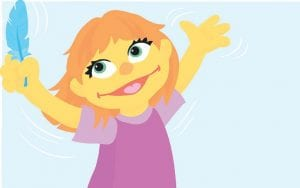 """A preschooler with autism named Julia is seen in this image from """"Sesame Street and Autism: See Amazing in All Children."""" The Sesame Workshop said recently the character is being introduced as part of an initiative to take the stigma out of autism. Julia will be included in digital and printed storybooks featuring Sesame Workshop characters including Elmo and Abby. (Marybeth Nelson/Sesame Workshop via AP)"""
