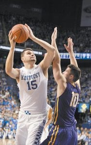 Isaac Humphries, left, has accepted his role in playing behind talented teammates at Kentucky but also knows that will only make him better. (Photo by Vicky Graff )