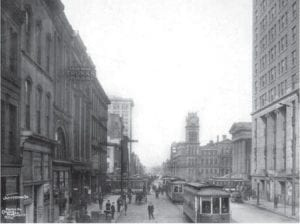 This photo, from the Caufield and Shook collection at the University of Louisville, shows Jefferson Street in Louisville in 1915. (Photo courtesy The Courier-Journal)
