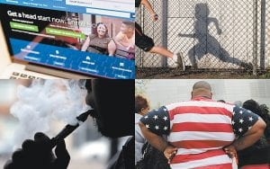 This combination of file photos shows the HealthCare.gov website; students in an early morning running program at an elementary school in Chula Vista, Calif.; an electronic cigarette in Chicago, and an overweight man with a shirt patterned with the U.S. flag in New York. When the government launched what would become most influential survey to monitor the nation's public health 60 years ago, there were just 75 questions, and 95 percent of those asked agreed to sit for it. There are now 1,200 potential questions, and the average family takes more than 90 minutes to answer them. The refusal rate has gone up, as well, raising concerns that the survey has gotten too big. (AP Photos)
