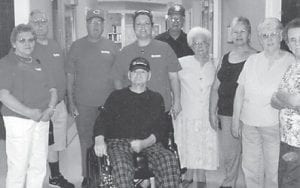"""The late Clyde Hatton poses with friends from the Ermine Senior Citizens Center who visited him at Kentucky Veterans Center in Hazard. """"He was so pleased to see them,"""" says Whitesburg correspondent Oma Hatton, his widow."""