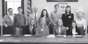 Members of the Appalachian Renaissance Initiative (ARI) Senate Student joined 25 regional elected localities including Whitesburg and Letcher County in passing a resolution of support for President Barack Obama's proposed POWER+ Plan. Pictured are (first row, left to right) Stacie Fugate, Hazard High School; Ashley Benton, Letcher County Central High School; McKenzie Gibson, Jenkins High School; Lindsey Ambrose, JHS; (second row) Cameron Wright, Kentucky Valley Educational Cooperative; Jamison Coleman, Belfry High School; Whitesburg Mayor James W. Craft; Taryn Syck, Pike County Central High School; Letcher County Judge/Executive Jim Ward; Kiley Short, LCCS; and Abby Landis, Harlan County Central High School.